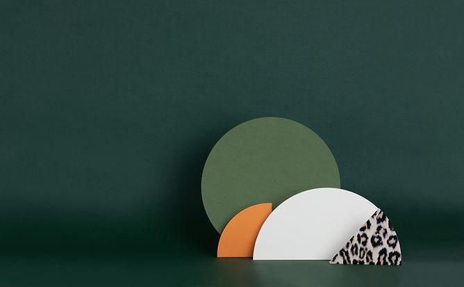 Estruturas de papel verde escuro