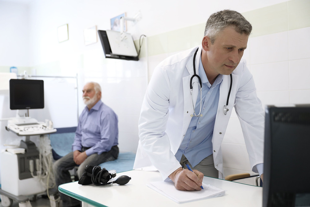 Doctor looks up patient information