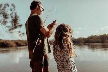 Vater und Tochter Angeln