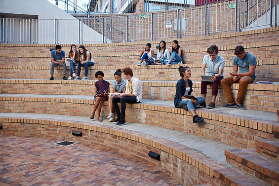 students in front of university