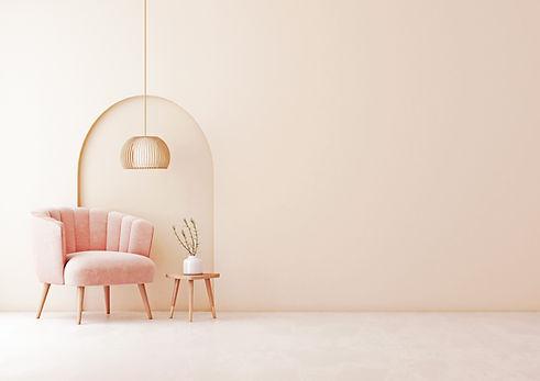 ピンクのリビングルーム