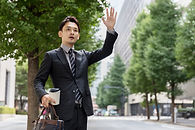 Man Hailing a Cab