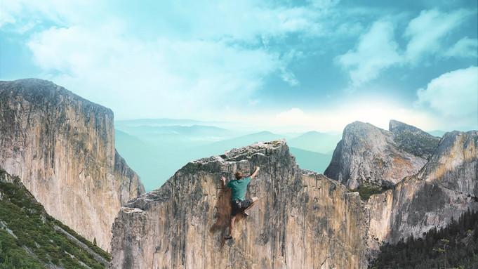 Man Klettern ein Berg