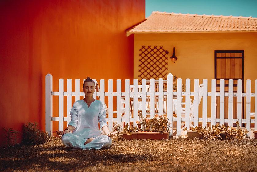 Meditating in Garden