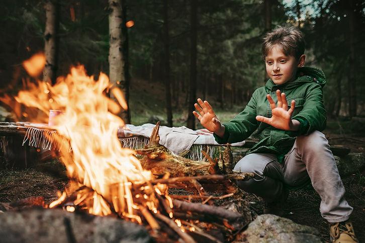 Fuoco di accampamento nella foresta