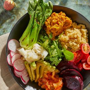 Detox Vegetable bowl with mashed sweet potato and kimchi
