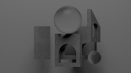 3D球とアーチ