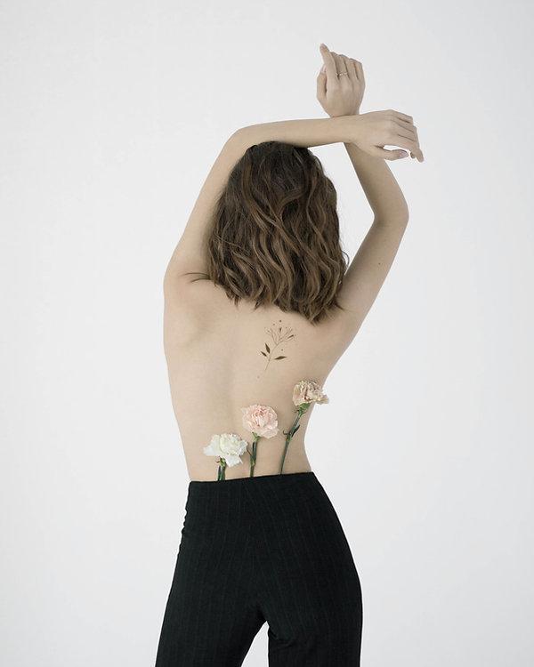 Flowers on Bare Back