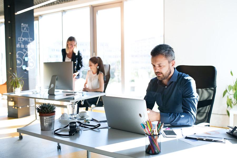 Office scene for online life coaching