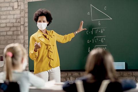 Math Teacher With Face Mask