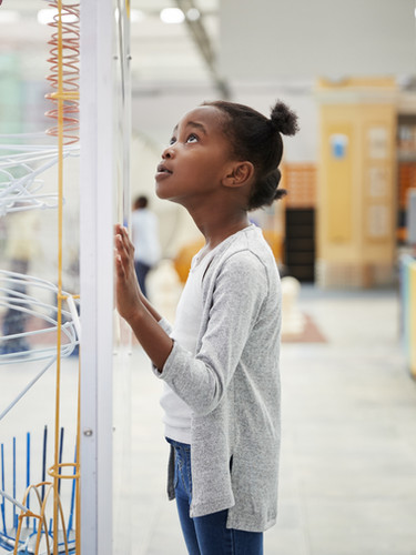 物理モデルを見ている女の子