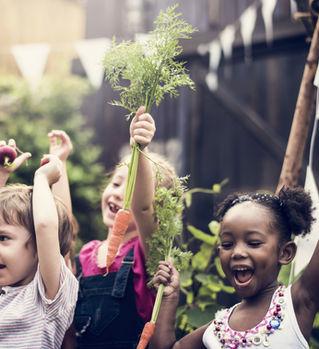 野菜畑の子供たち