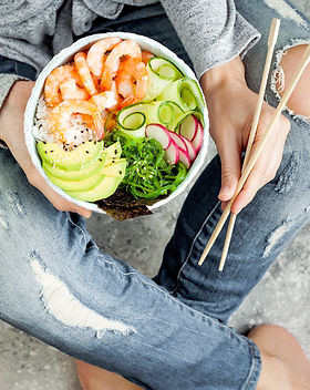 Girl with Bowl of Poke