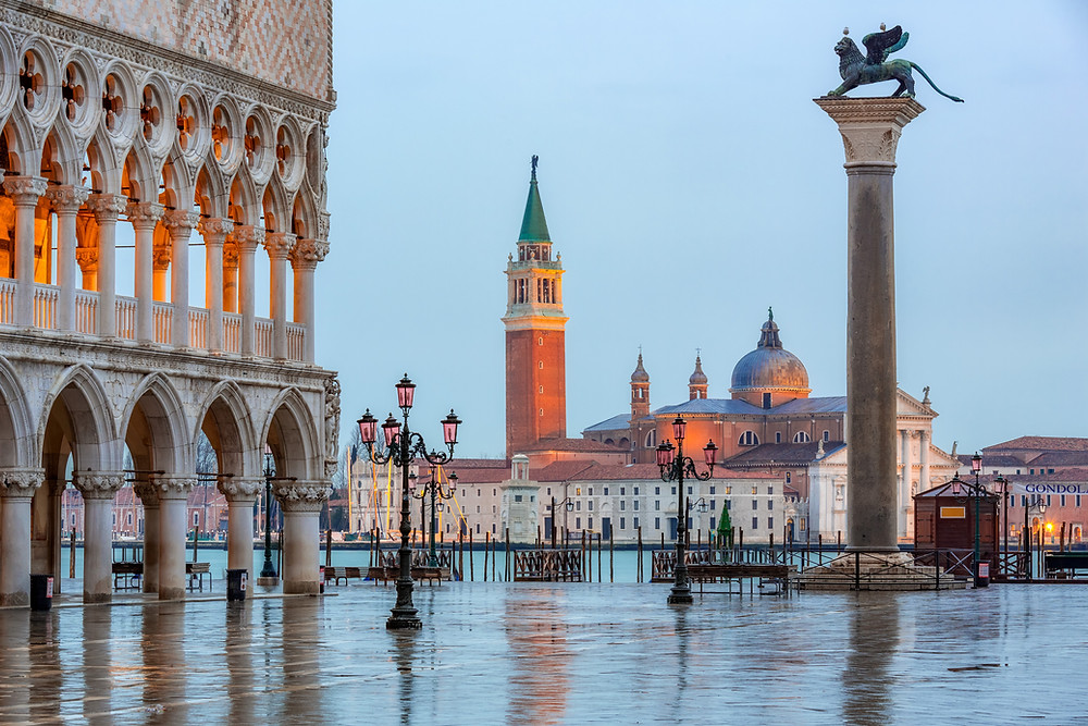 Piazza San Marco in Venice, with the column of the winged lion of Venice