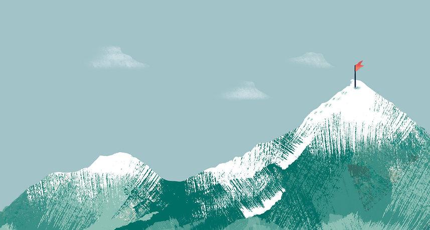 Flag on Mountain Peak