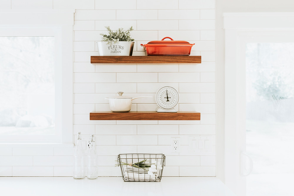shelves on kitchen wall