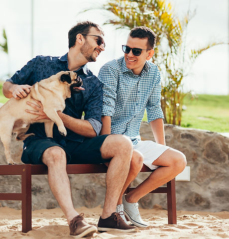 Two Men with a Dog