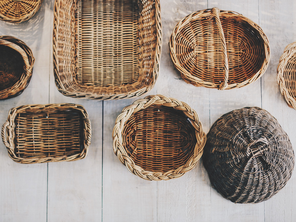 collection of baskets in neutral tones