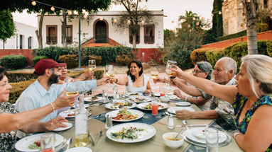 Family and Friends eating together