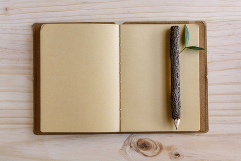 Wood Pencil and Notebook