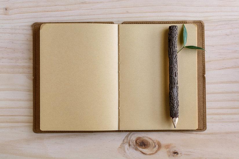 Caderno e lápis de madeira