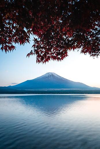 富士山と湖の景色