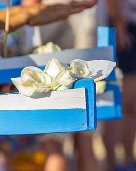 Levando flores para Iemanjá