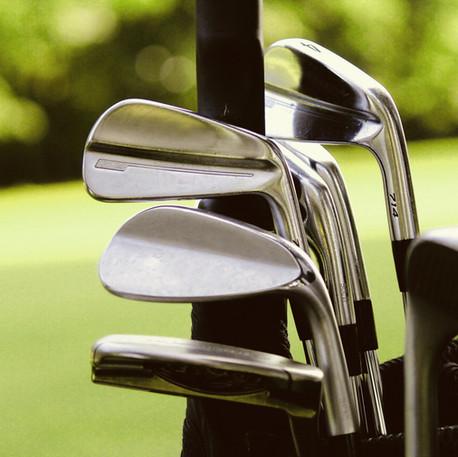 Los palos de golf.