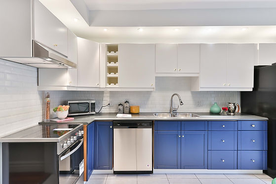 white and blue coloured custom cabinets for kitchen