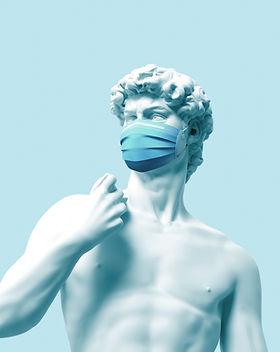 マスク付きの像