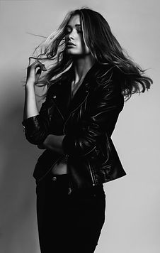 Model in Leather Jacket