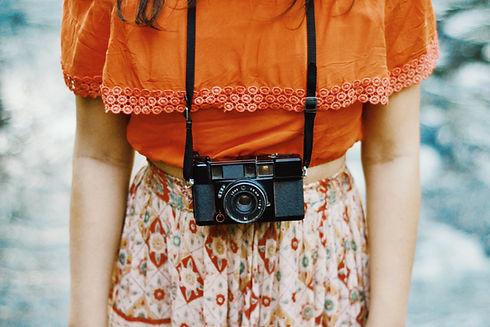 Femme, appareil photo