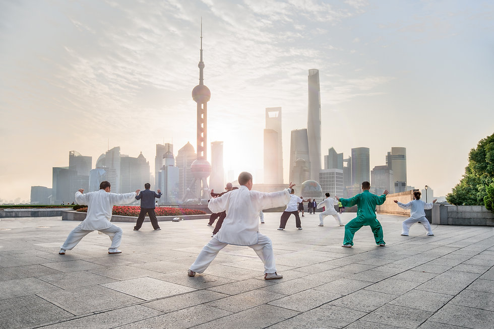 Practicing Tai Chi on a Rooftop