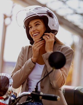 Smiling Scooter Driver
