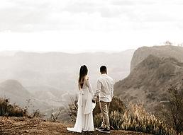 自然の中で結婚式のカップル