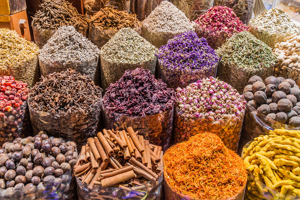 Rows of piles of spices
