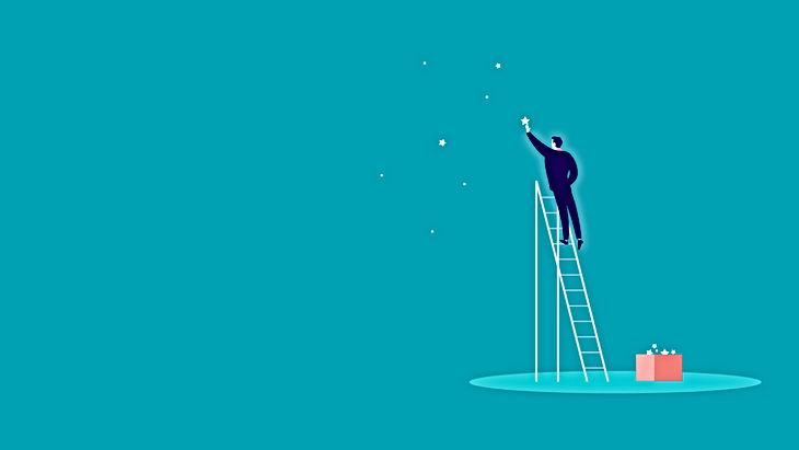 Emprendedor alcanzando sus sueños