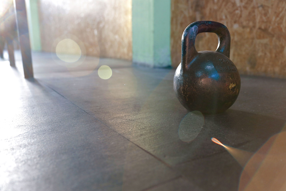 a kettlebell in a gym