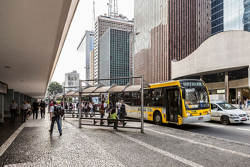 public bus in traffic in brazil streets