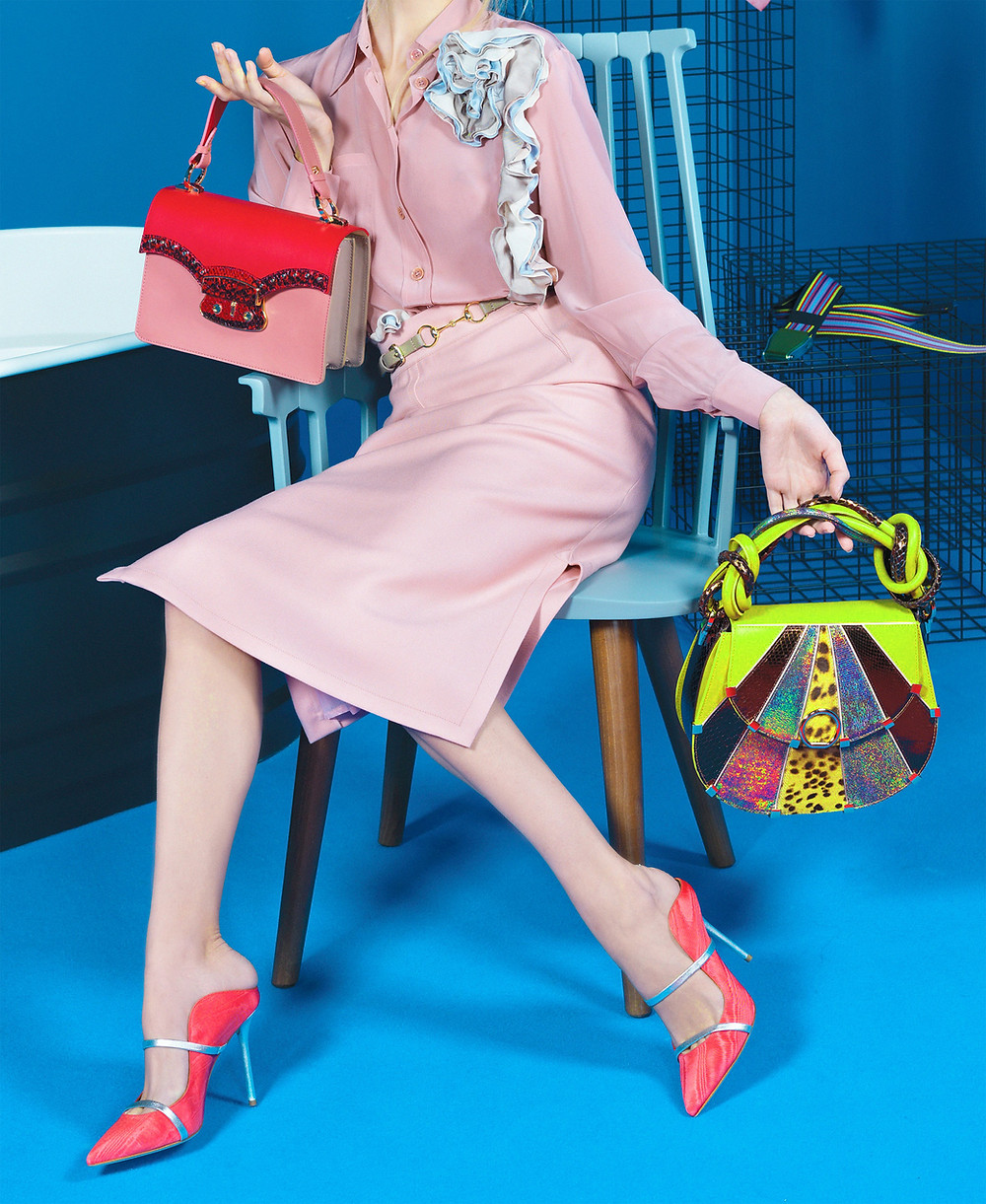 lady with colorful bags