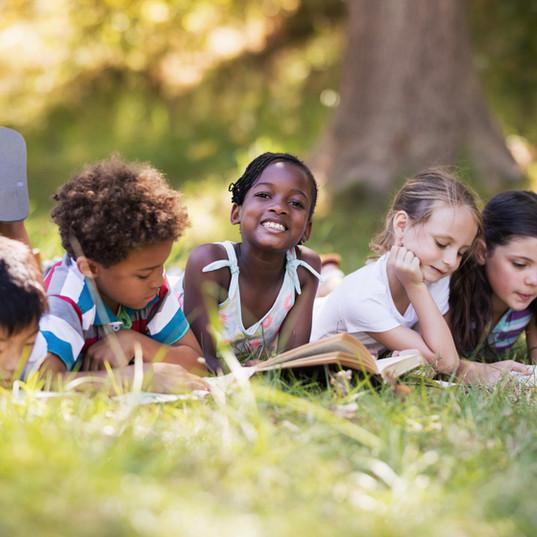 Kids Reading Outdoor
