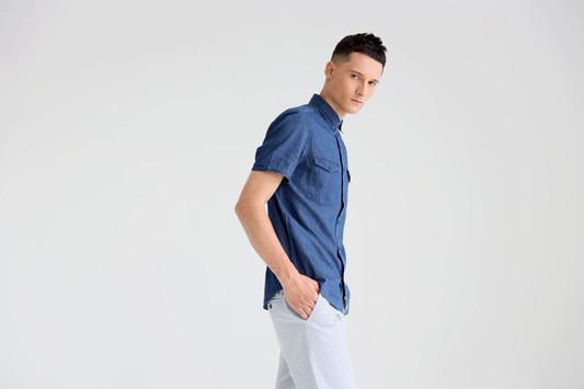Model in Denim Shirt