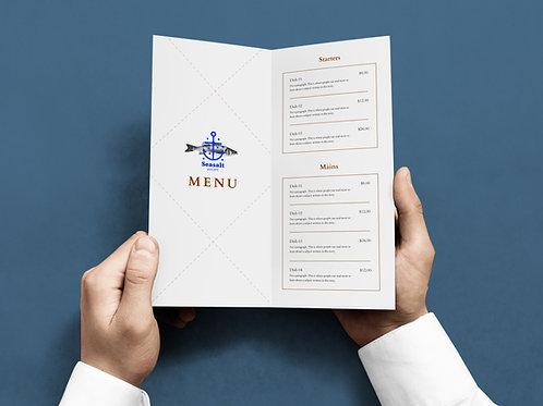 disposable folded menu