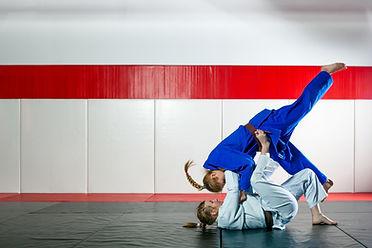 Two girls in karate class