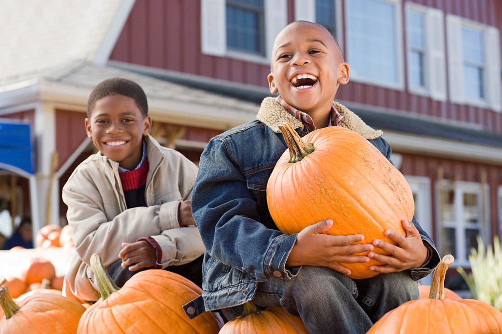 Two African American boys smiling in a pumpkin patch