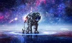 Astronauta arrodillado
