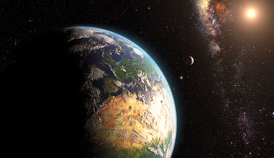 image of the earth and the moon