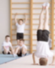 Drengene under en gymnastikpraksis