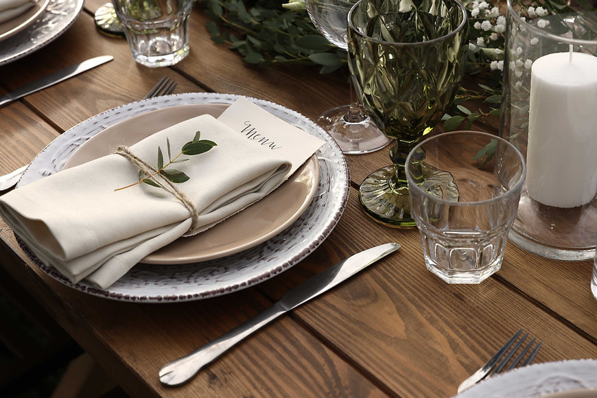 Rustic Vintage Table Setting with napkin, plates and glasses in Amherstburg, Ontario