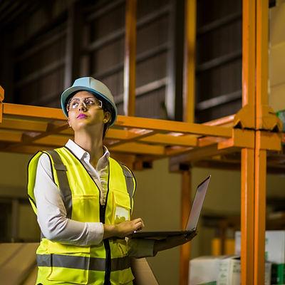 Warehouse worker taking stocks